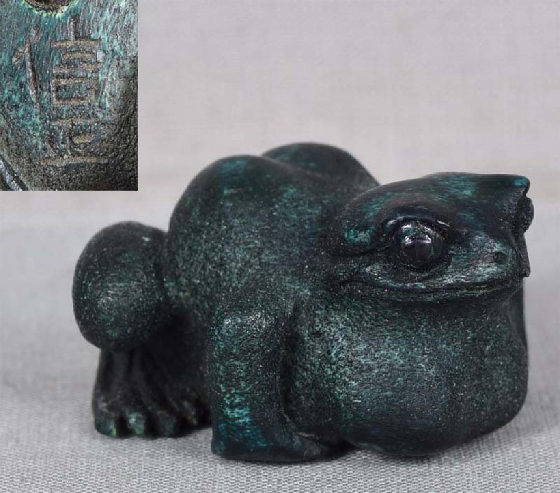 Antique Japanese Staghorn Netsuke Frog by Nobumasa