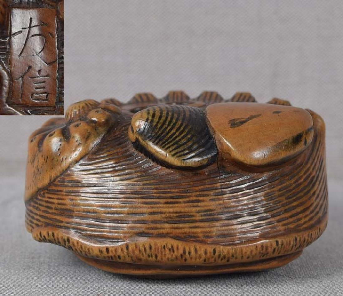 Antique Japanese Wood Netsuke Shells by Tomonobu
