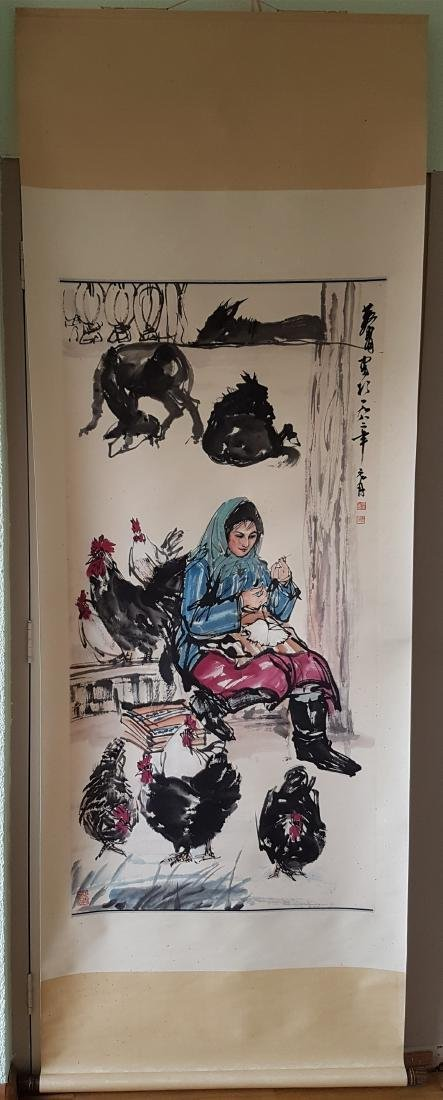 A Chinese Scroll Painting on paper HUANG ZHOU