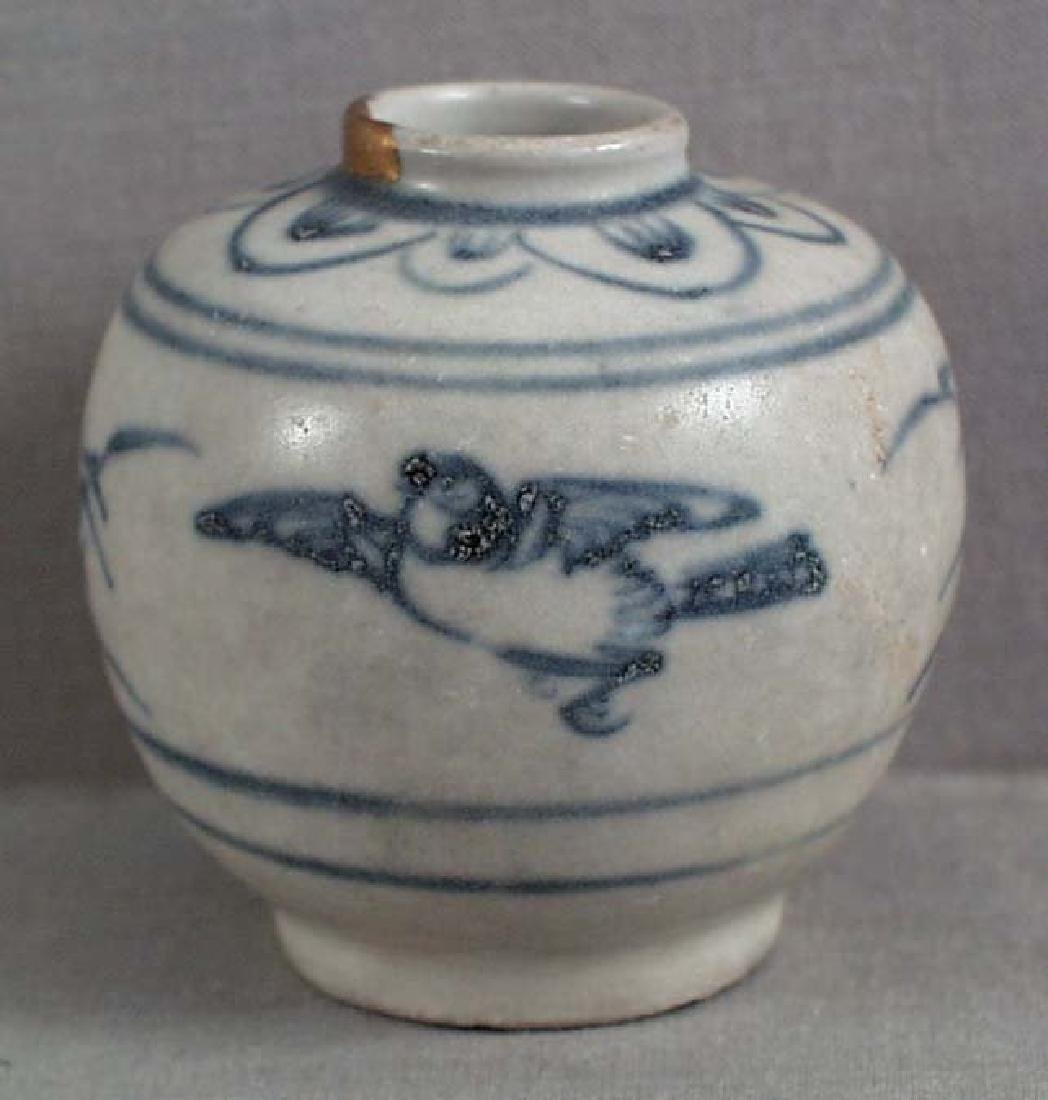 15th C. Vietnamese Ceramic Jar Bird, Shipwreck