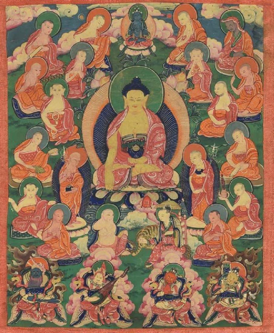 Antique Tibetan Thangka Shakyamuni, Disciples & Kings