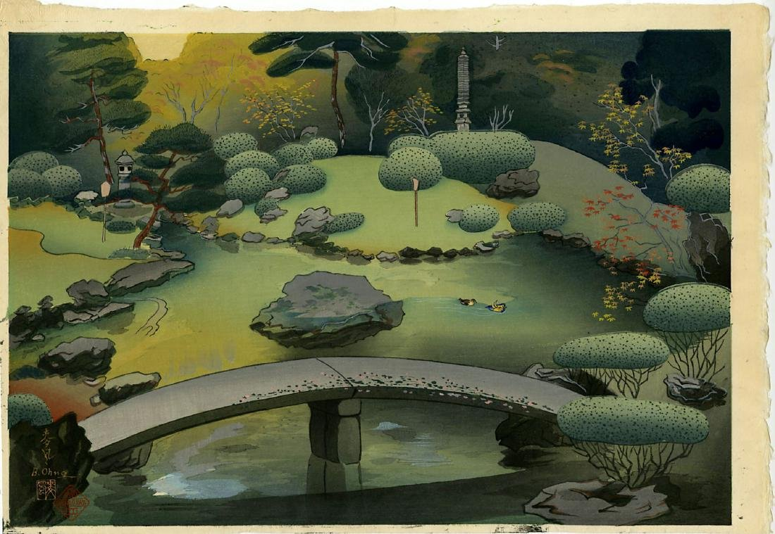 Bakufu Ohno Woodblock Kurodani Garden in Kyoto Spring