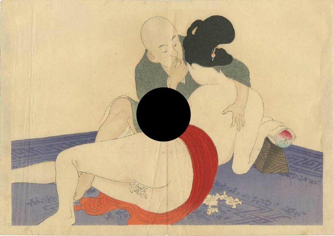 Eisen Tomioka Woodblock Entangled Shunga