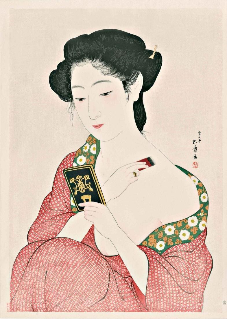 Goyo Hashiguchi Woodblock Woman Applying Powder Mirror