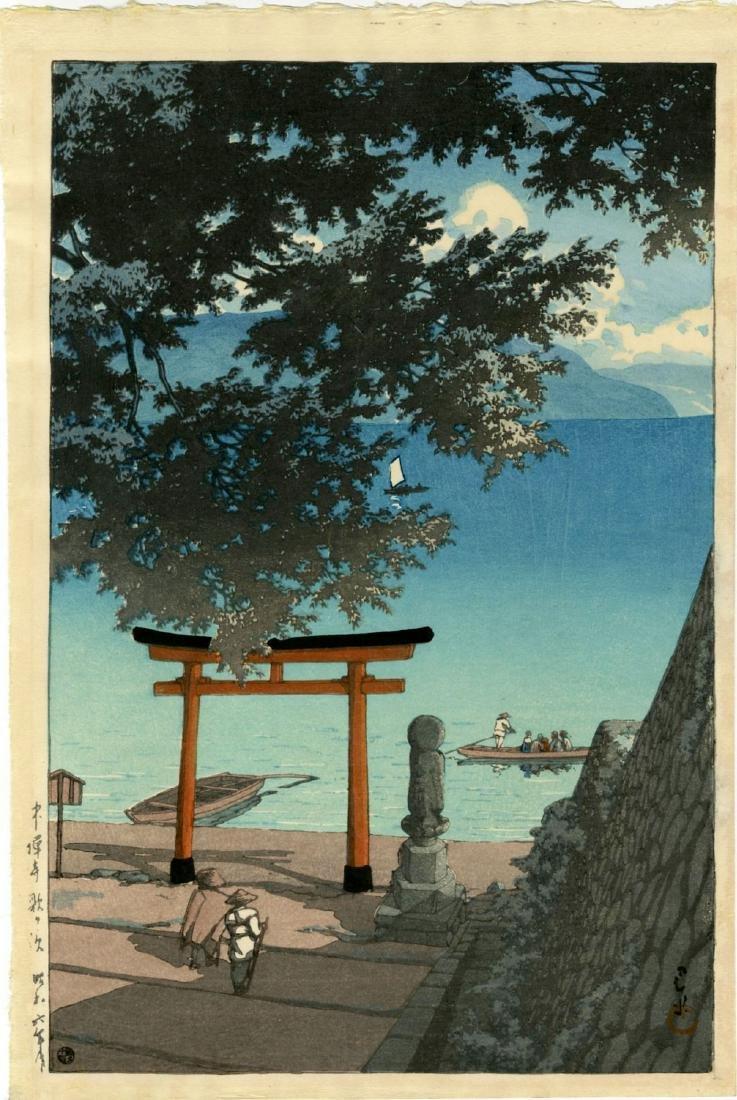 Hasui Kawase Woodblock Nikko Chuzenji Lake, Utagahama