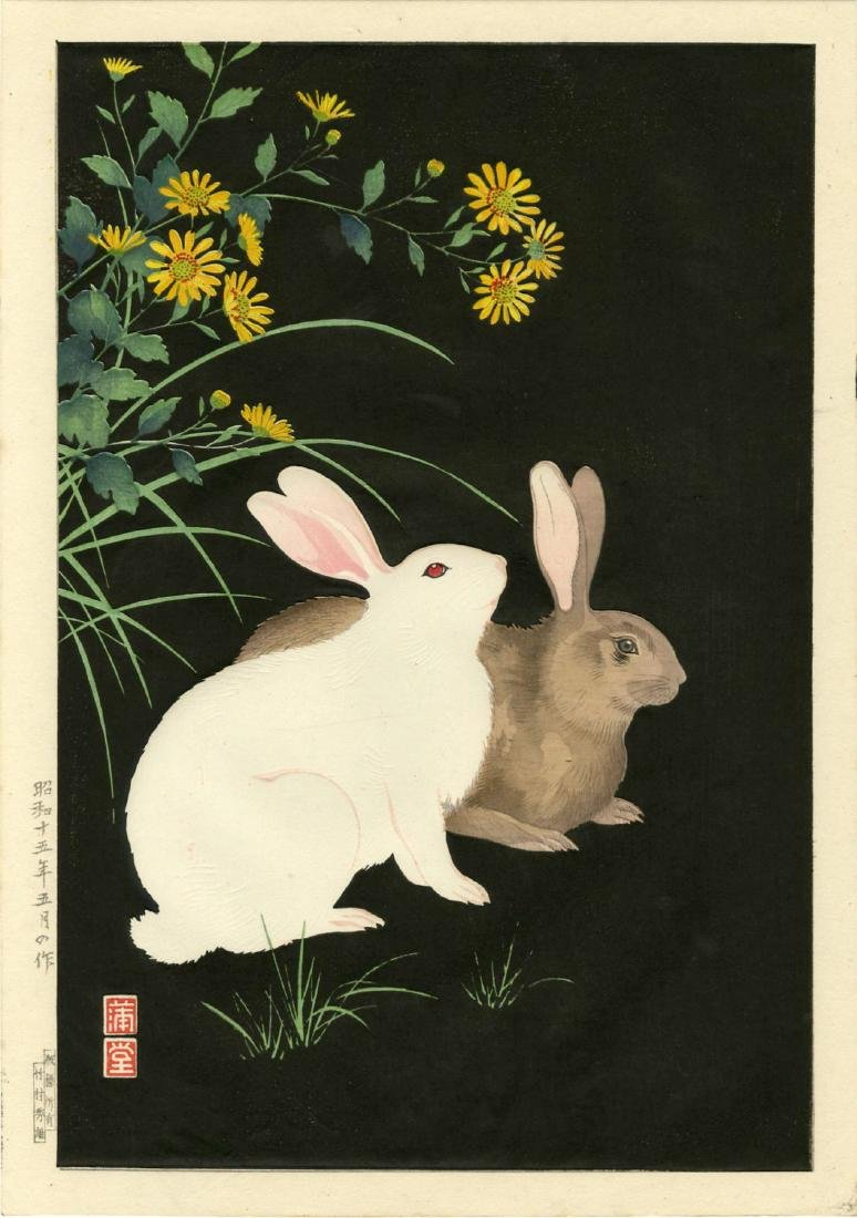 Hodo Nishimura Woodblock Two Rabbits at Night