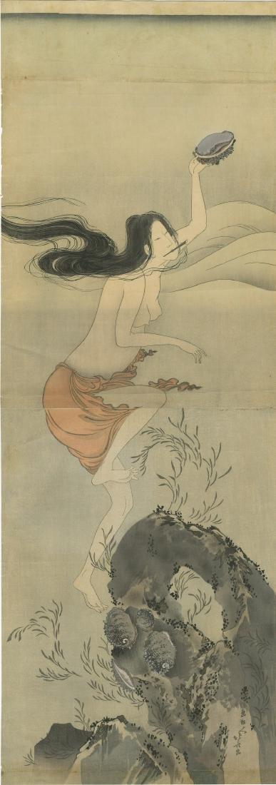 Hokusai Katsushika Woodblock Awabi Diver Diptych
