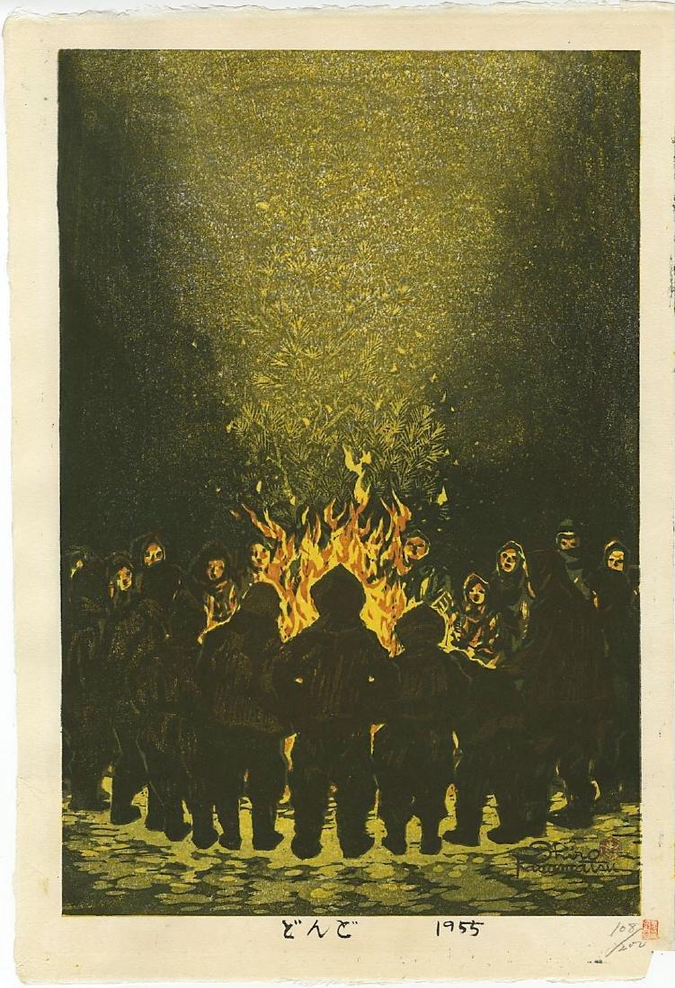Kasamatsu Shiro Woodblock Bonfire