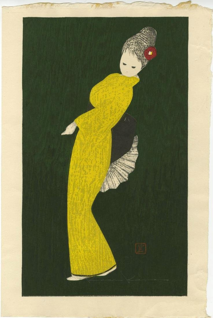 Kawano Kaoru Woodblock Dancing Figure Camellia