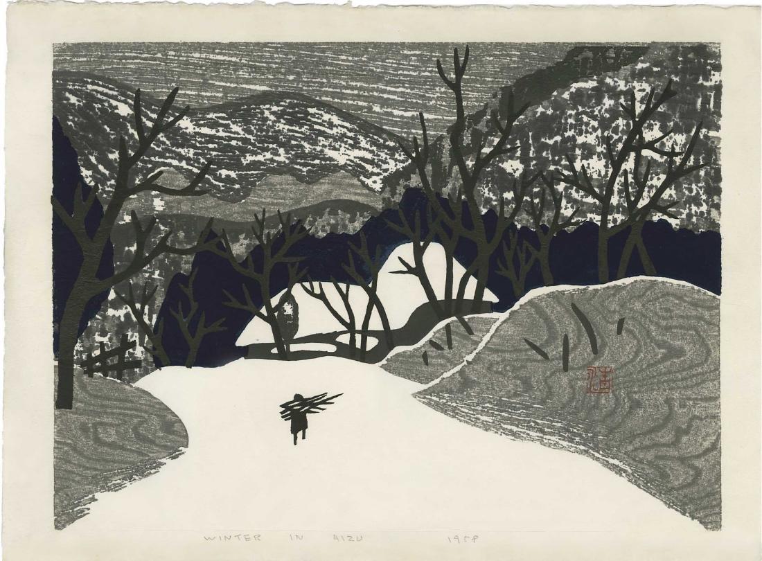 Kiyoshi Saito Woodblock Winter in Aizu 5