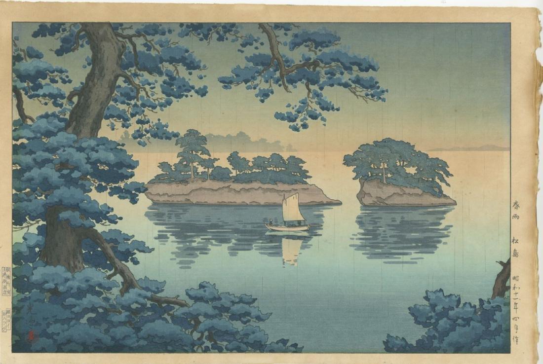 Koitsu Tsuchiya Woodblock Spring Rain at Matsushima
