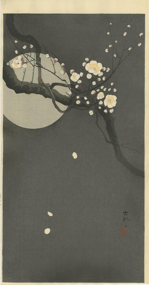 Koson Ohara Woodblock Flowering Plum and Full Moon