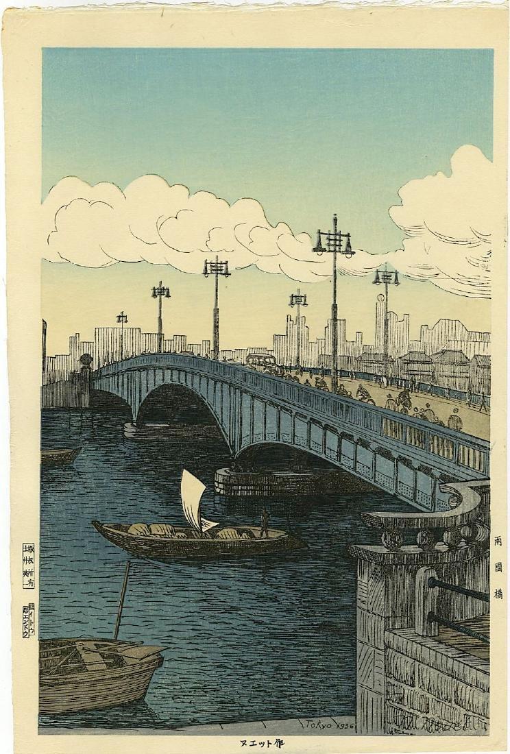 Noel Nouet Woodblock Ryogoku Bridge, Tokyo