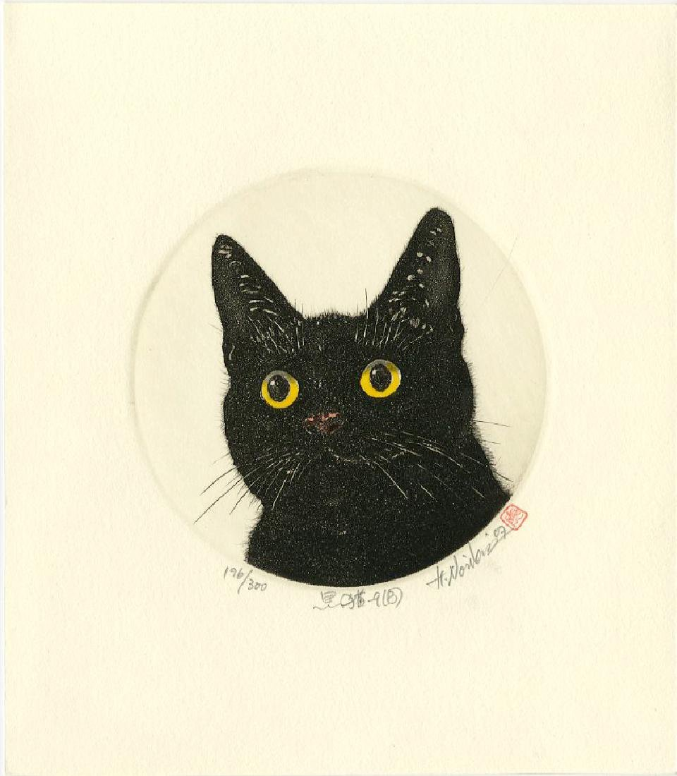 Norikane Hiroto Mezzotint Black Cat with Yellow Eyes