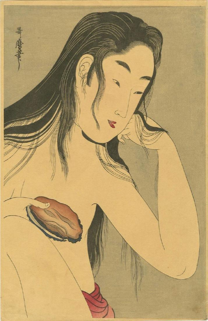 Utamaro Kitagawa Woodblock Beauty with a Sea Shell