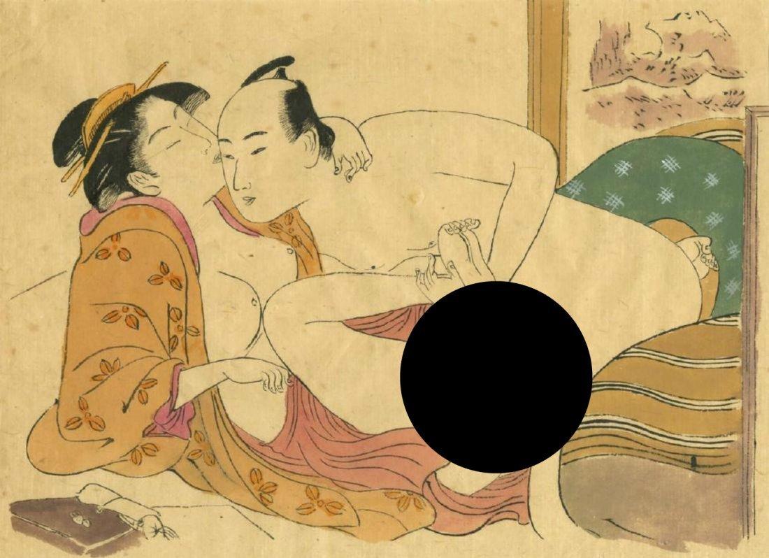 Utamaro Kitagawa Woodblock Toe Curling Shunga
