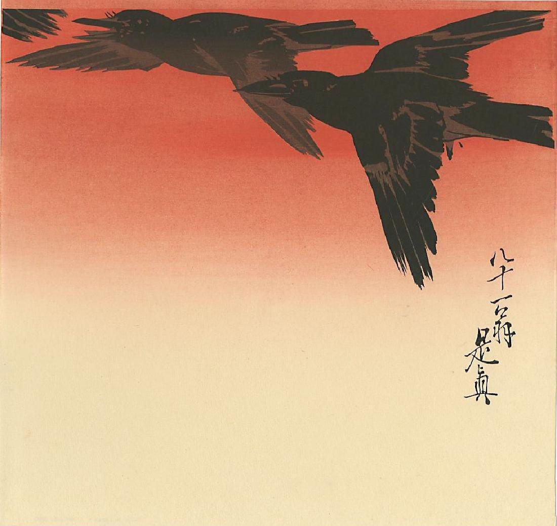 Zeshin Obata Woodblock Three Crows in Flight