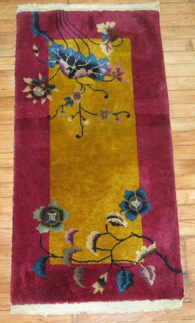 Antique Chinese Art Deco Rug 2x3.11