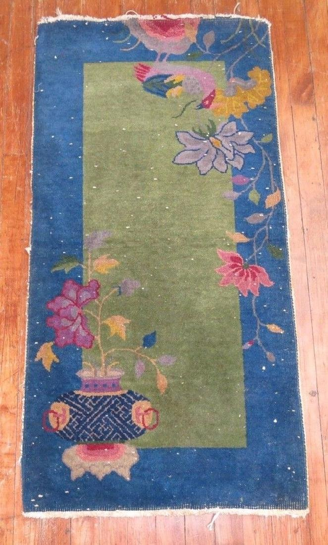 Antique Chinese Art Deco Rug 1.11x3.10