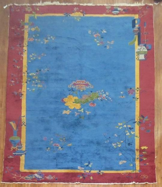 Antique Chinese Art Deco Rug 10x19.1