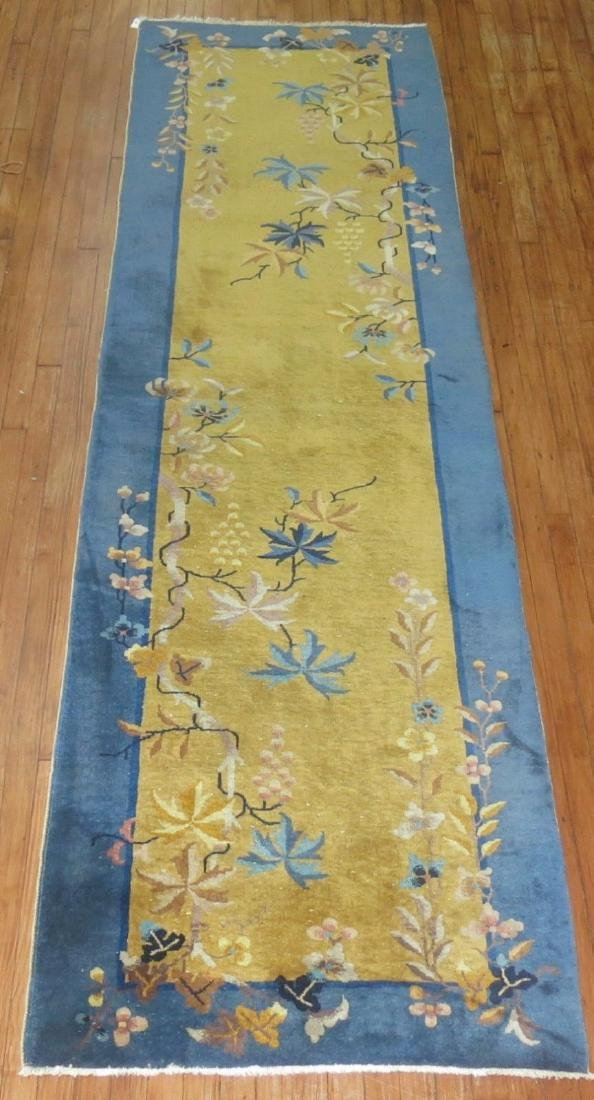 Antique Chinese Art Deco Rug 3x11.4