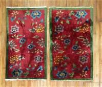 Antique Matching Pair Chinese Art Deco Rug 2.5x4.3 EACH