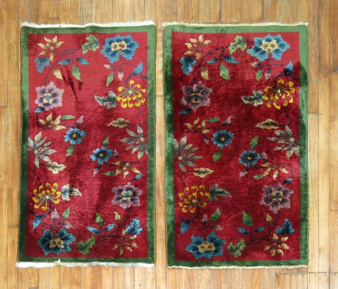 Antique Matching Pair Chinese Art Deco Rug 2.5x4.3 EACH