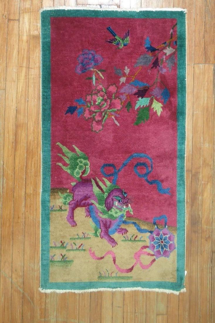 Antique Chinese Art Deco Foo Dog Rug 2.6x4.4