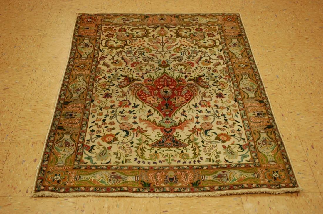 Detailed Animal Subjects Persian Tabriz Rug 3.3x 5