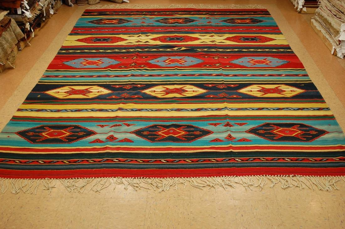 Antique American Indian Navajo Rug 10x14.2