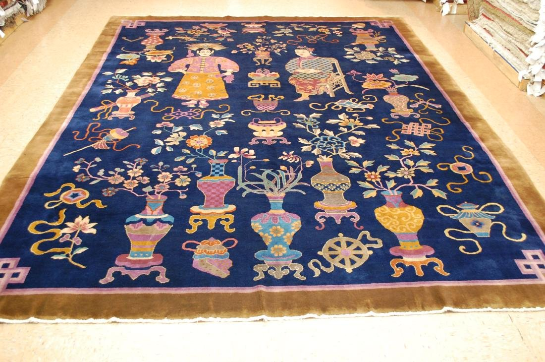 Art Deco Chinese Walter Nichols Pictorial Rug 9x11.8