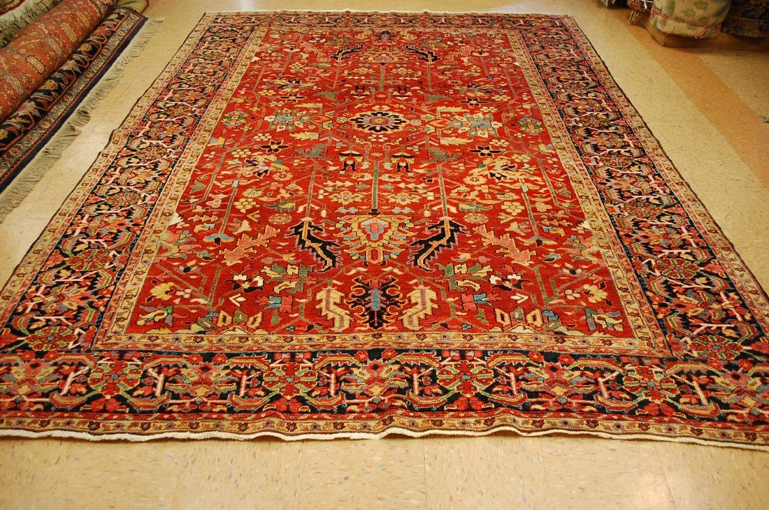 Antique Persian Heriz Serapi Rug 8.6x11.7