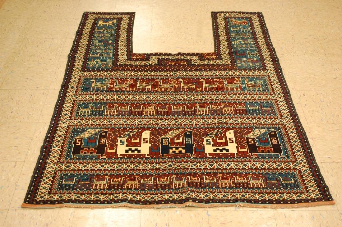 Antique Fine Caucasian Horse Cover Verneh Rug 4.10x6.1