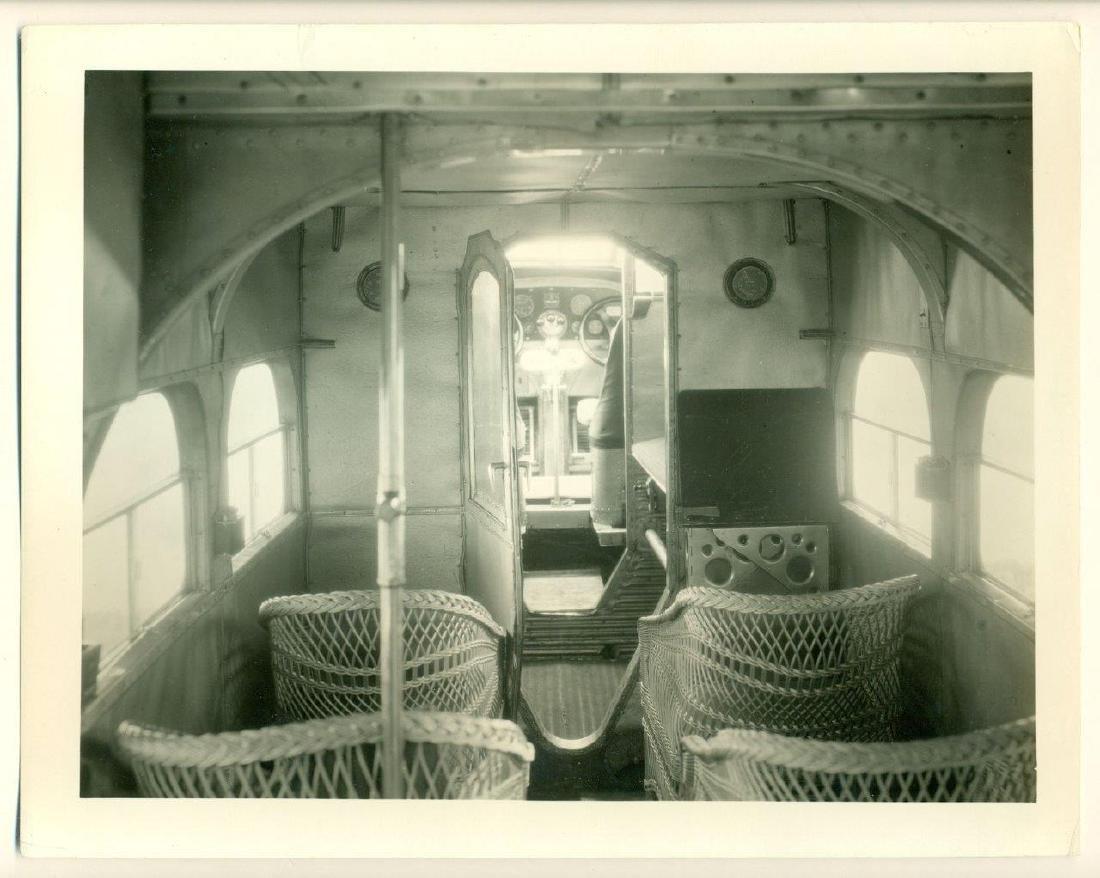 1930 Vintage Photo Airplane Interior Wicker Passenger