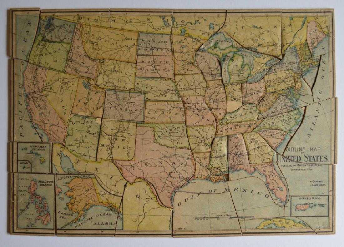 Antique 1905 Outline Us Map United States Puzzle Milton