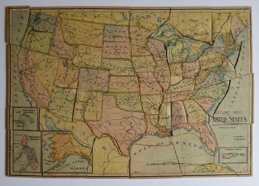 Antique 1905 Outline Us Map United States Puzzle Milton - Apr 24 ...
