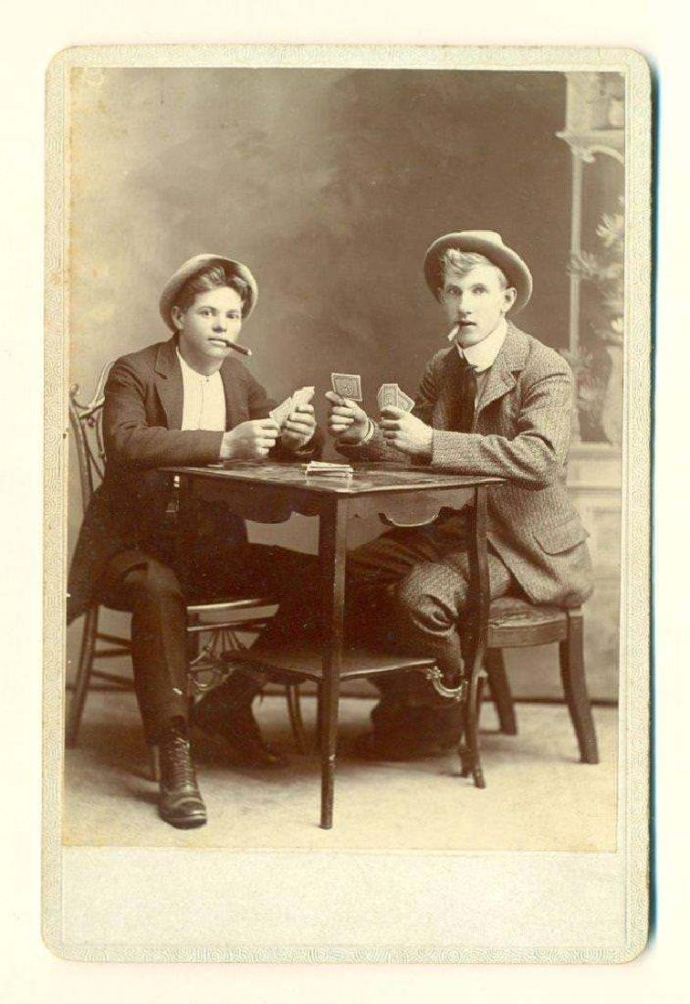 1880 Young Men Play Cards Game, Poker While Smoking