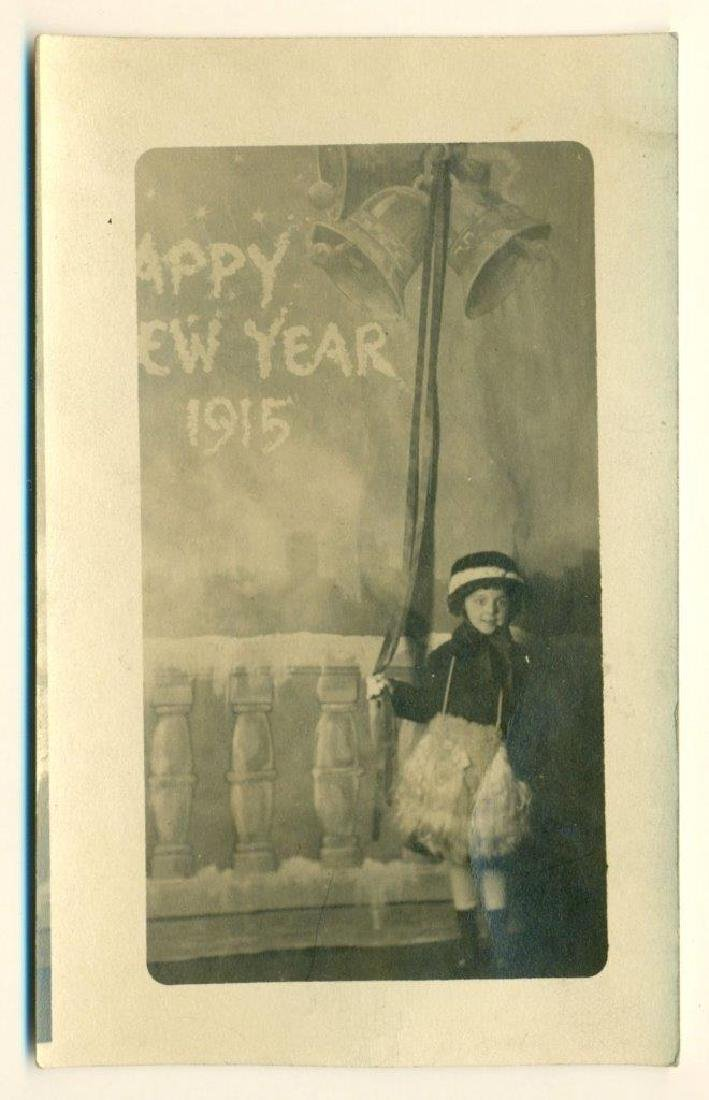 1915 Girl in Costume Rings in Happy New Year Folky Fake