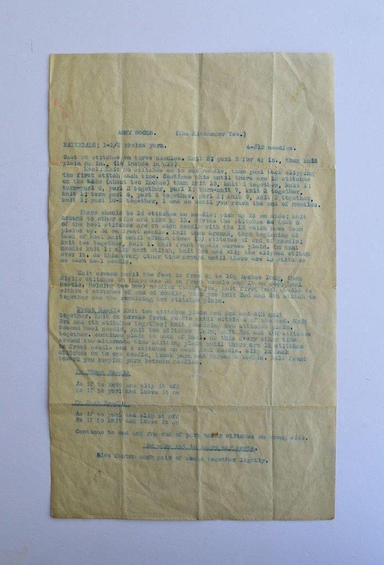Ca WWI Home Front Print Instructions Knit Army Soldier