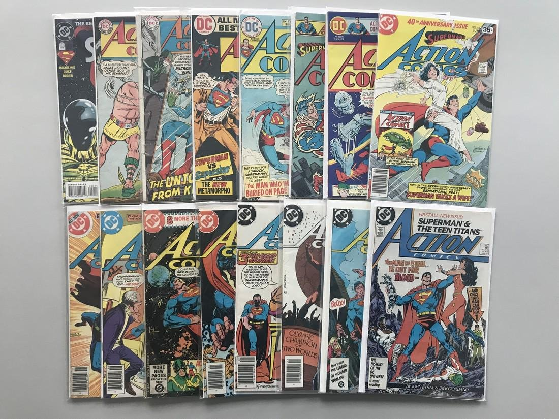 Lot of 17 Action Comics (1938 DC) from #0 353-584 VF