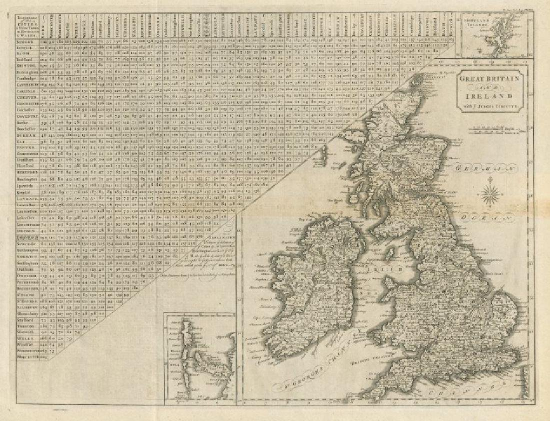 Cary: Antique Map of Great Britain and Ireland 1789