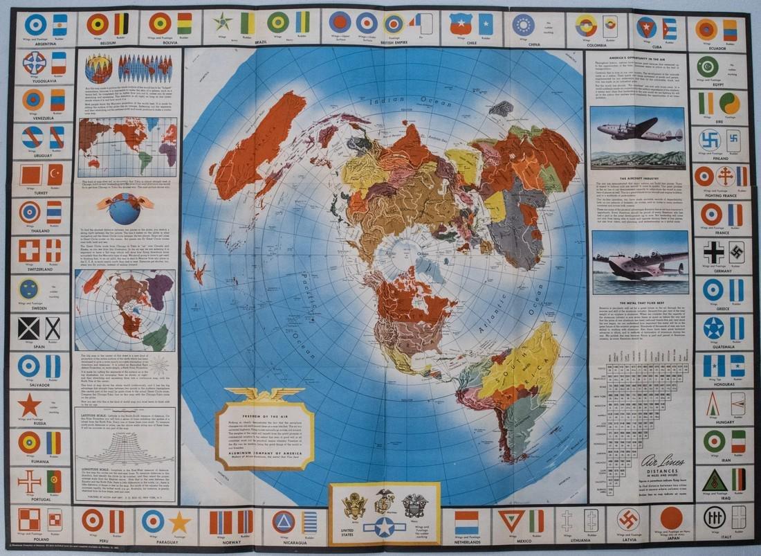 1943 Alcoa Aluminum Polar Projection of World at World
