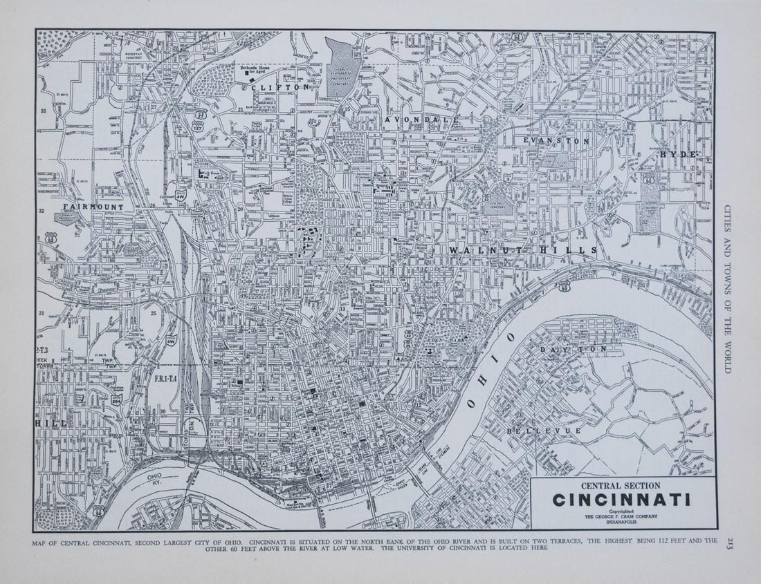 1939 Cram Map of Cincinnati -- Central Section