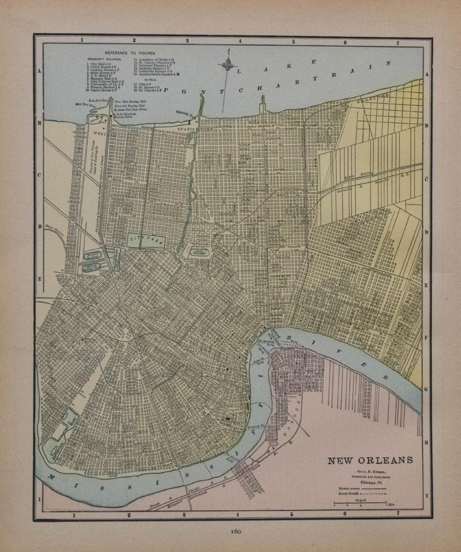 1890 Cram Map of Cincinnati verso New Orleans --