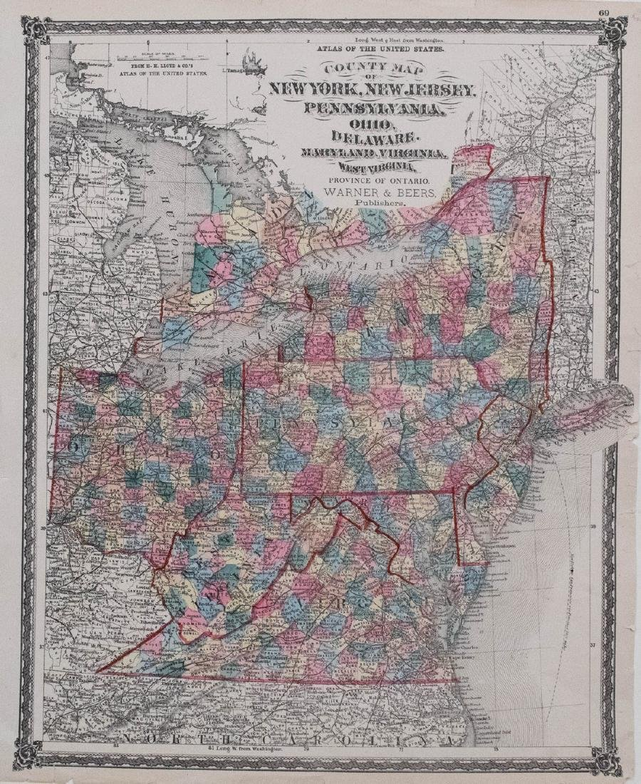 1873 Lloyd Map of Parts of Eastern and Midwestern US --