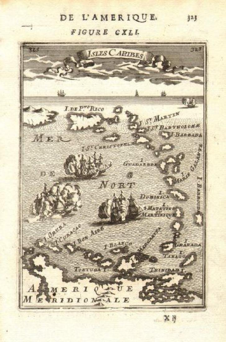 Mallet: Antique Map of the West Indies, 1683