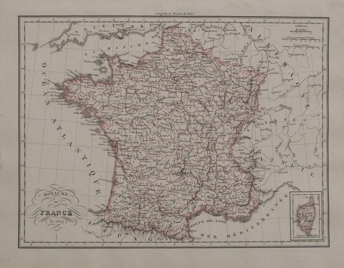 1829 Malte-Brun Map of France -- Royaume de France en
