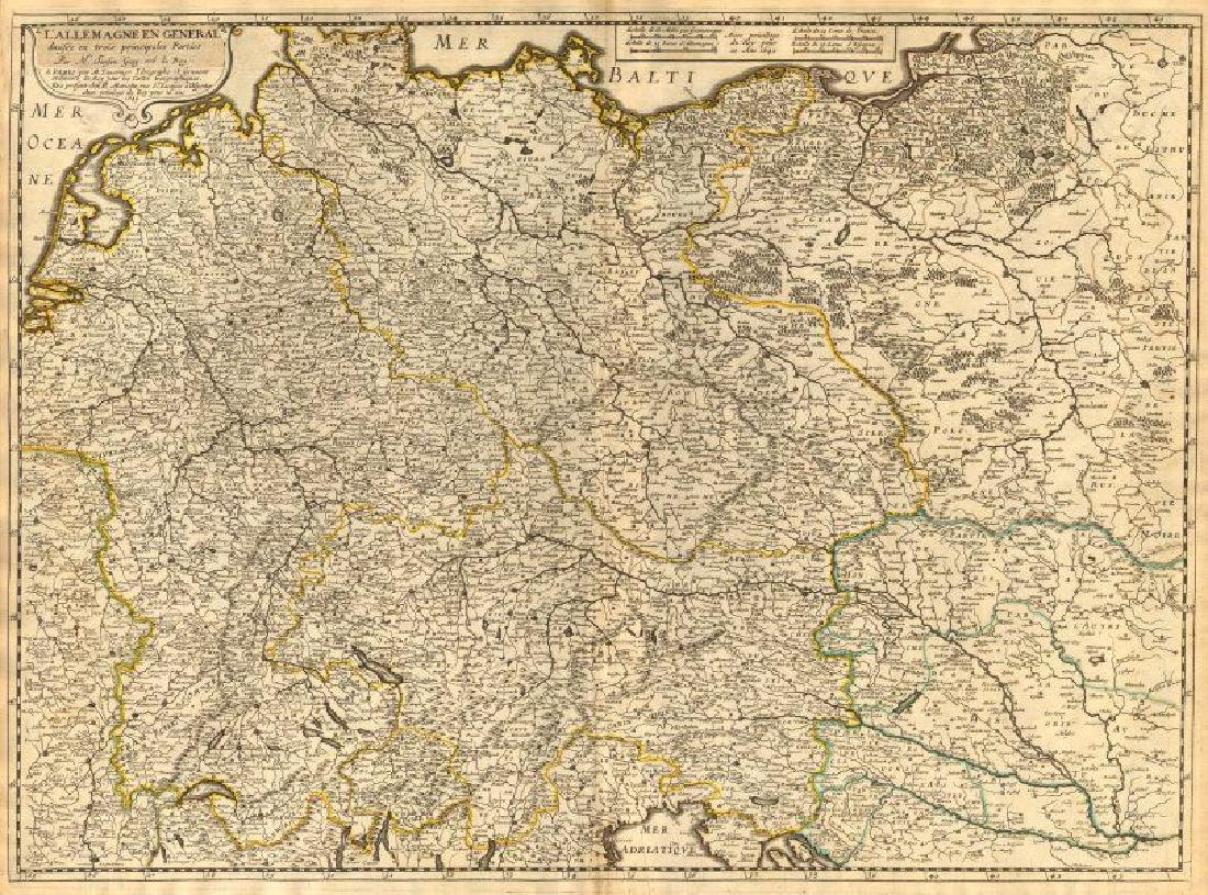 Sanson: Antique Map of Greater Germany, 1645
