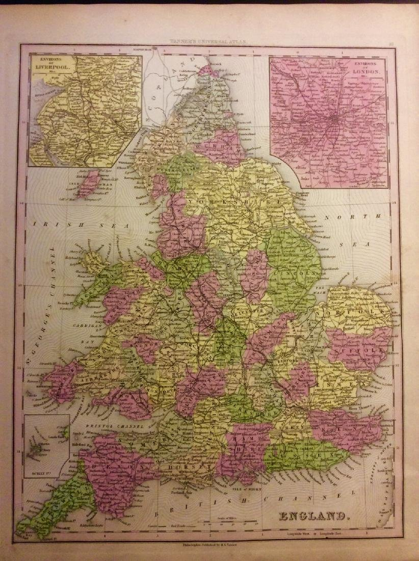 Tanner: Antique Map of England & Wales with inserts