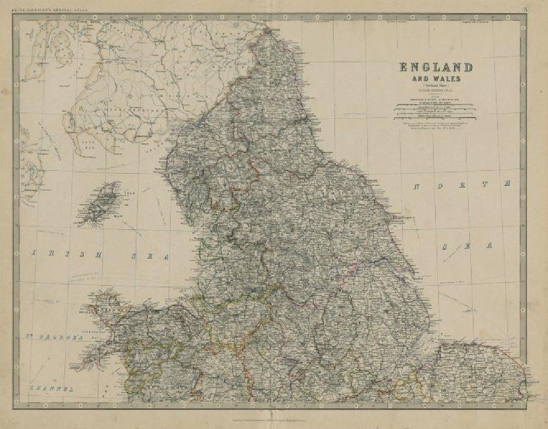 Johnston: Antique Map of North England and Wales